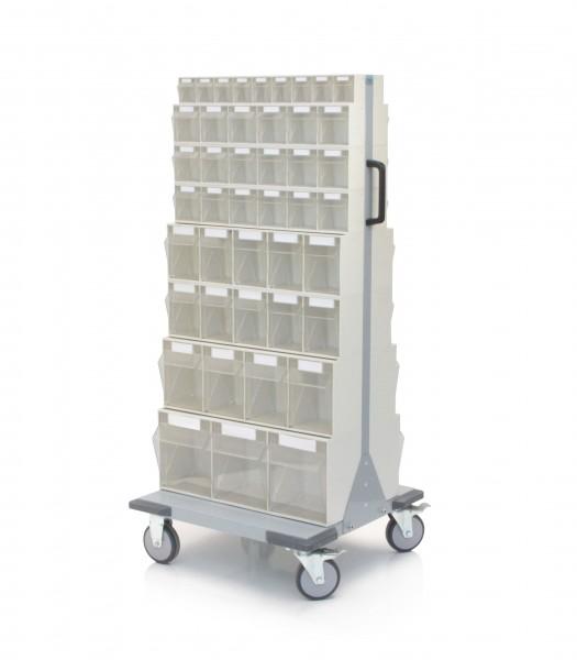 Magazinwagen mit Klarsichtbehältern